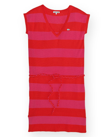 robe lacoste rouge rose rayures